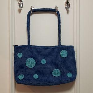 Vintage knit handbag with polka dots